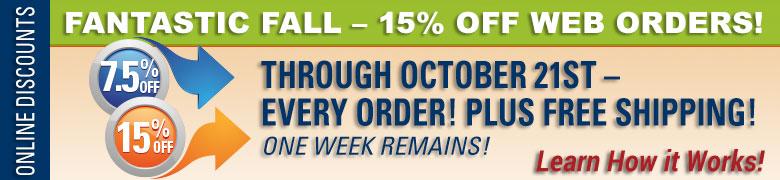 Fantastic Fall - 15% Off Web Orders!