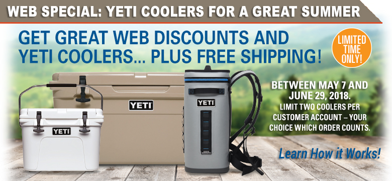 Get Great Web Discounts and Yeti Coolers... Plus Free Shipping!