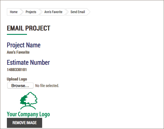 Email Project with logo screen